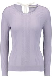 Nina Ricci Pointelle Knit Wool Sweater Lavender