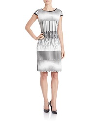 Julia Jordan Geo Striped Sheath Dress White Black
