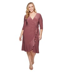 Kiyonna Whimsy Wrap Dress Mauve Mist Pink