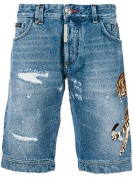 Philipp Plein Tiger Patch Denim Shorts Blue