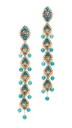 Miguel Ases Beaded Linear Drop Earrings Blue