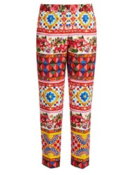 Dolce And Gabbana Carretto Print Straight Leg Cotton Blend Trousers Pink Multi