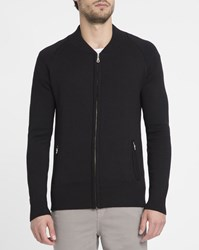 M.Studio Black Julien Knit Bomber Jacket