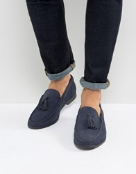 Frank Wright Tassel Loafers In Navy Suede Navy Black