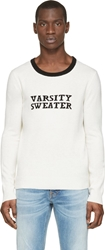 Band Of Outsiders Ivory And Black Ringer Varsity Sweater