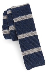 Eleventy Stripe Skinny Woven Silk And Linen Tie Royal Blue