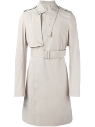 Rick Owens Belted Trench Coat Nude Neutrals