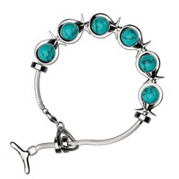 Phiiish London 6 Link Silver With Natural Turquoise Orbs Bracelet
