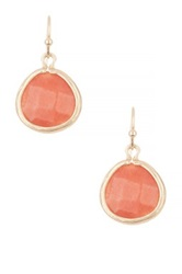 Cara Accessories Simple Stone Faceted Drop Earrings Pink