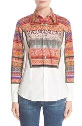 Etro Women's Ribbon Print Stretch Cotton Shirt