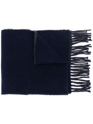 Polo Ralph Lauren Logo Embroidered Fringed Scarf Blue