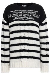 Each X Other Embroidered French Terry Paneled Striped Cable Knit Wool And Cashmere Blend Sweater Black
