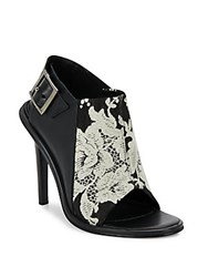 Tibi Milou Floral Printed Leather And Cloth Open Toe Sandals Black White