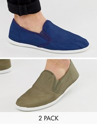 Truffle Collection Two Pack Slip On Plimsolls In Khaki And Navy Multi