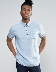 Pepe Jeans Half Placket Short Sleeve Shirt Blue