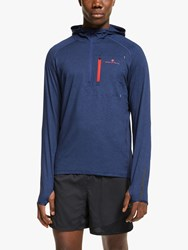 Ronhill Momentum Workout Training Hoodie Midnight Blue Flame