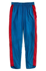 Universal Standard Plus Size For J.Crew Inset Stripe Pants Sailor Blue Sundried Tomato