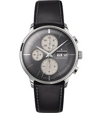 Junghans 027 4525.01 Meister Chronoscope Stainless Steel And Leather Watch Grey