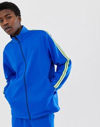 Fairplay Nera Track Jacket With Neon Sleeve Taping In Blue