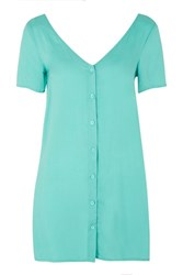 Glamorous Button Front Shirt Dress By Petite Turquoise