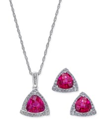 Macy's Lab Created Ruby 3 Ct. T.W. And White Sapphire 1 3 Ct. T.W. Pendant Necklace And Matching Stud Earrings In Sterling Silver
