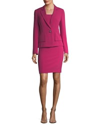 Albert Nipon One Button Crepe Jacket And Sheath Dress Set Deep Peony