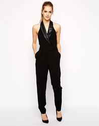 Bcbgeneration Tuxedo Jumpsuit With Faux Leather Detail Black