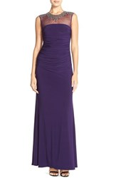 Women's Js Boutique Embellished Illusion Ruched Gown