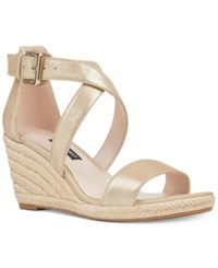 Nine West Jorgapeach Wedge Sandals Light Gold