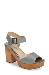 Kelsi Dagger Women's Brooklyn Front Platform Sandal Steel Blue Leather