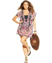 Becca Etc Sheer Printed Cover Up Tunic Women's Swimsuit Multi