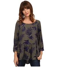 Roxy Landslide Top Indo Floral Dusty Olive Women's Long Sleeve Pullover