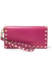 Valentino The Rockstud Leather Wallet Magenta