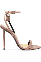 Tom Ford Padlock Leather Sandals Neutral
