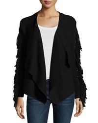 Ramy Brook Jenny Long Sleeve Cardigan W Fringe Trim Black Size Xs