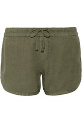 James Perse Dolphin Linen Shorts Army Green