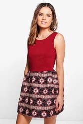 Boohoo Aztec Print Contrast Skater Dress Red