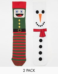 Asos 2 Pack Socks With Christmas Characters Design Multi