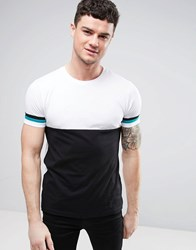 Asos T Shirt With Half And Half Body And Sleeve Panelling White