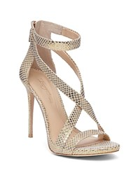 Imagine Vince Camuto Devin Snake Embossed High Heel Ankle Strap Sandals Soft Gold