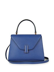 Valextra Iside Mini Grained Leather Bag Blue
