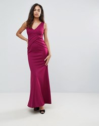 Jessica Wright Plunge Neck Maxi Dress Red