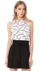 Equipment Sleeveless Slim Signature Blouse Bright White True Black