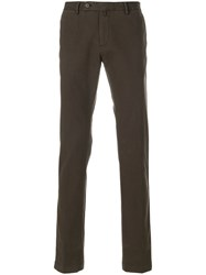 Hackett Straight Leg Trousers Cotton Spandex Elastane Brown
