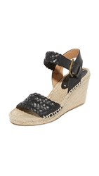 Soludos Woven Leather Wedge Espadrilles Black