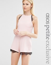 Asos Petite Cami Crepe Playsuit With Lace Inserts Nude Pink