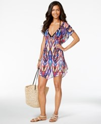 Becca Cutout Sheer Printed Cover Up Women's Swimsuit