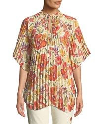 Etro Pleated Floral Deco Print Poncho Red