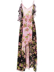 Natasha Zinko Rose Print Asymmetric Silk Maxi Dress Pink And Purple