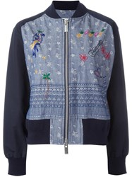 Sacai Aloha Chambray Bomber Jacket Blue